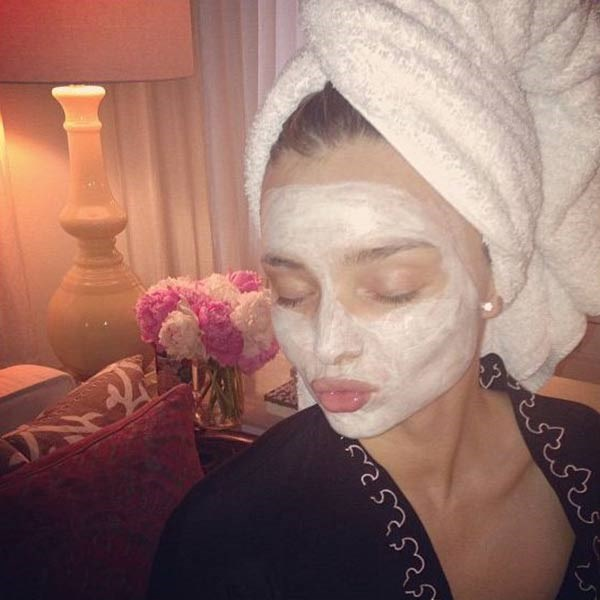 <strong>Miranda Kerr</strong><br> The Aussie supermodel gave us a glimpse into her beauty routine when she posted this pouty selfie of her face covered in a mask from her cosmetics brand KORA Organics.