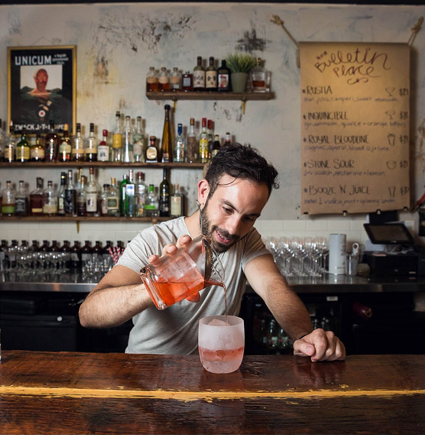 "<p>When he's not travelling the world teaching other bartenders, Tim Philips is a humble servant in his own small bar, Bulletin Place. Here he is making his Ketel One vodka 'Van Diemen's Trilogy'.</p> <a href=""http://www.bulletinplace.com"">www.bulletinplace.com</a>"