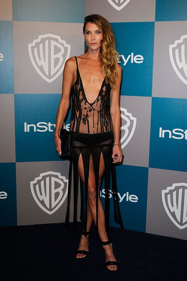 Wasson divided critics in this revealing sheer black gown at the 2012 Golden Globes Awards after party.