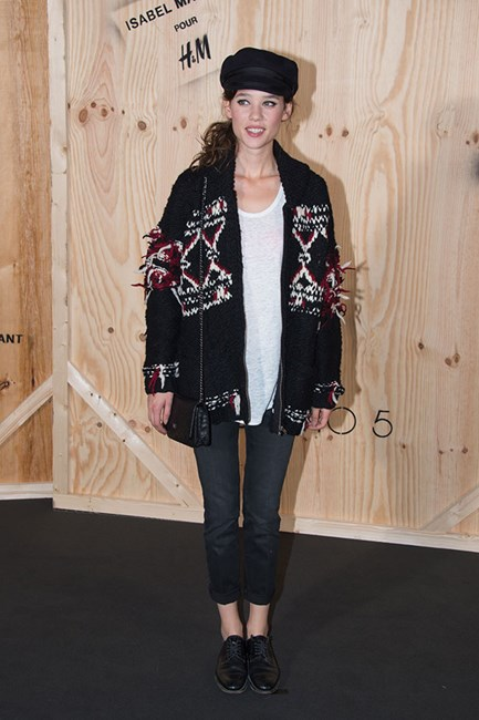 Àstrid Bergès-Frisbey wore an Isabel Marant for H&M cap and cardigan to the launch of the collection.