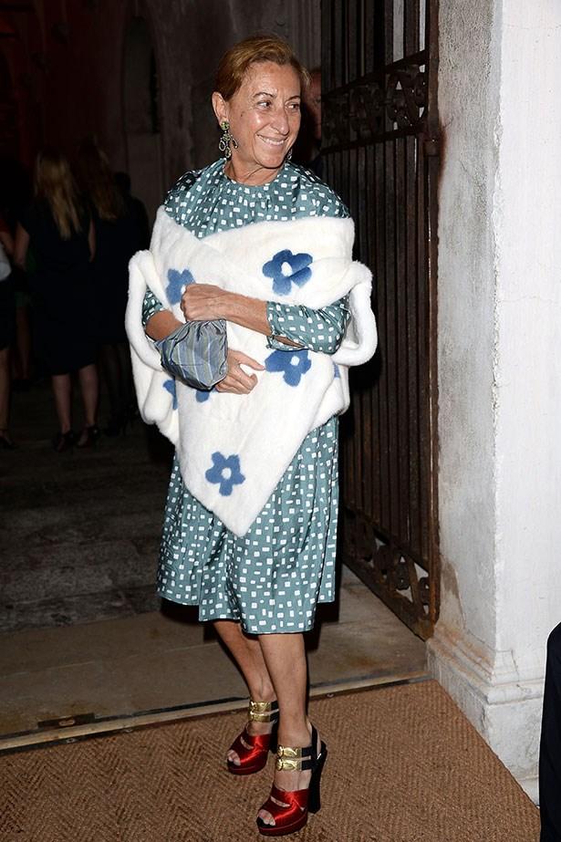Creative mastermind Miuccia Prada always looks amazing in her own designs