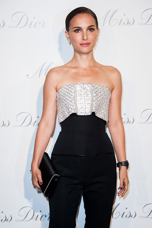 Natalie Portman channels old school Hollywood glamour in this embellished bustier