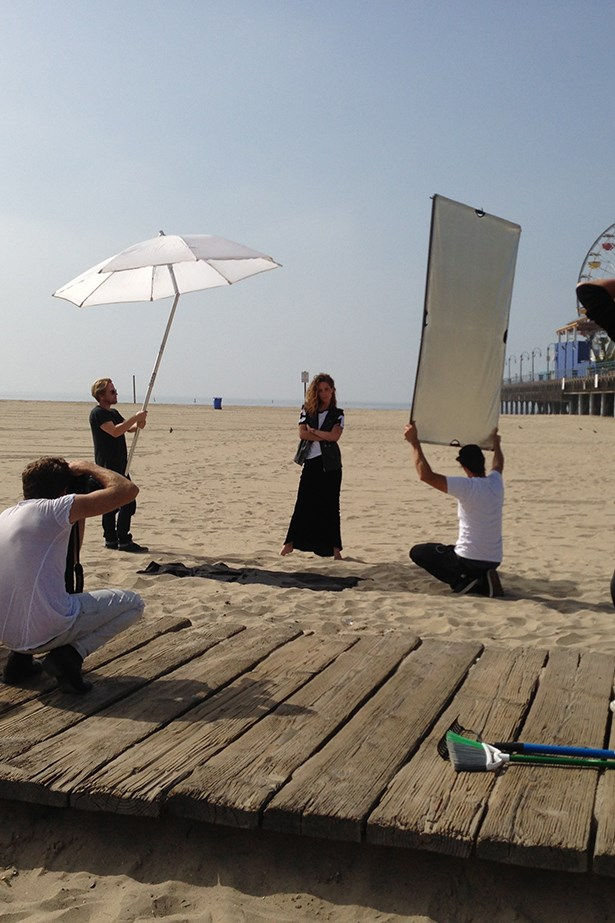 The crew photographed Wasson in front of the iconic Santa Monica Pier.