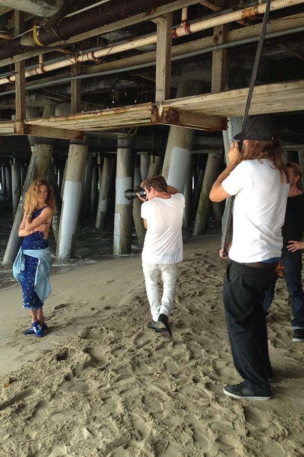 Australian photographer David Mandelberg snapped Erin under Santa Monica Pier in a sequin Collette Dinnigan gown.