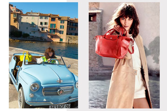 Left: Behind the scenes. Right: Alexa Chung's Longchamp campaign.