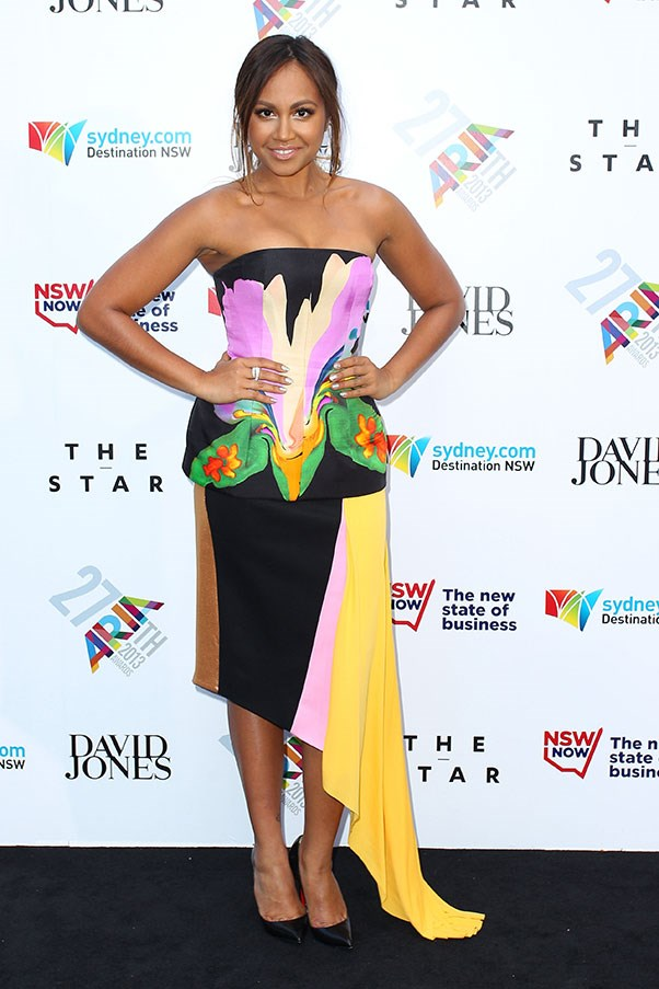 Jessica Mauboy opted for a bird of paradise look, with this painterly gown by Josh Goot.