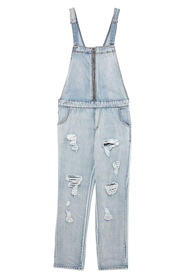 "Denim overalls, $119, Evil Twin, <a href=""http://eviltwinthelabel.com/"">eviltwinthelabel.com</a>"