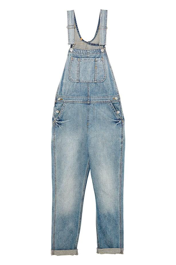 Denim overalls, $110, Topshop, (02) 8072 9300