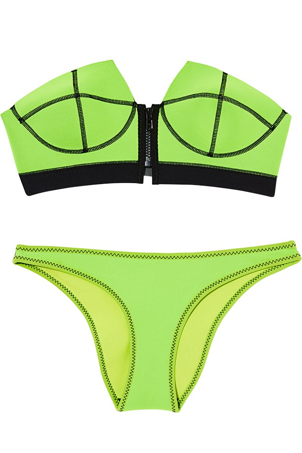 "<p>New wave: whether it's surfboards at sunrise or catching the afternoon sun, sporty brights fit right in</p> <p>Bikini top, $125, bottoms, $60, NLP, <a href=""http://www.nlpwomen.com"">nlpwomen.com</a></p>"