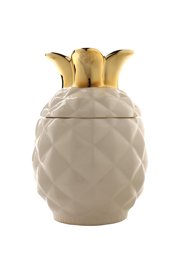 "Pineapple jar, $29.95, Cotton On, <a href=""http://shop.cottonon.com/shop/product/pineapple-jar-white-&-gold/"">cottonon.com</a>"