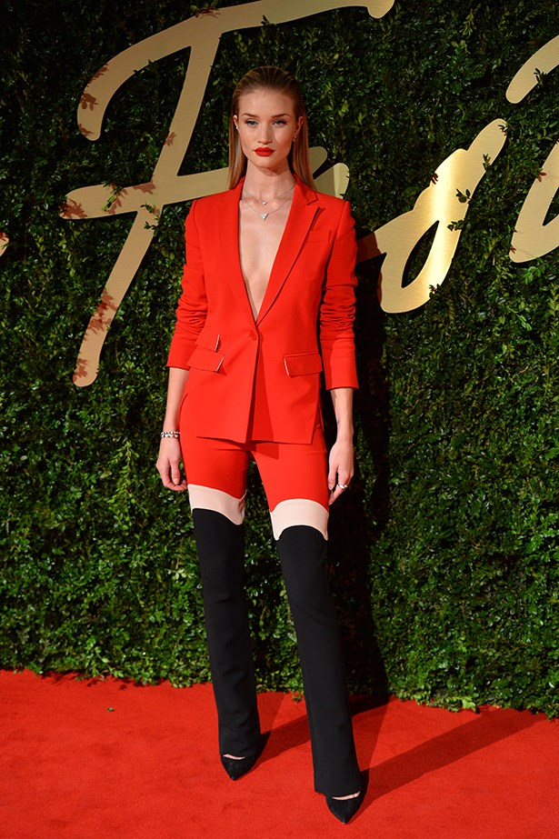 Rosie Huntington-Whiteley looked red-hot in this Antonio Berardi suit with matching red lipstick.