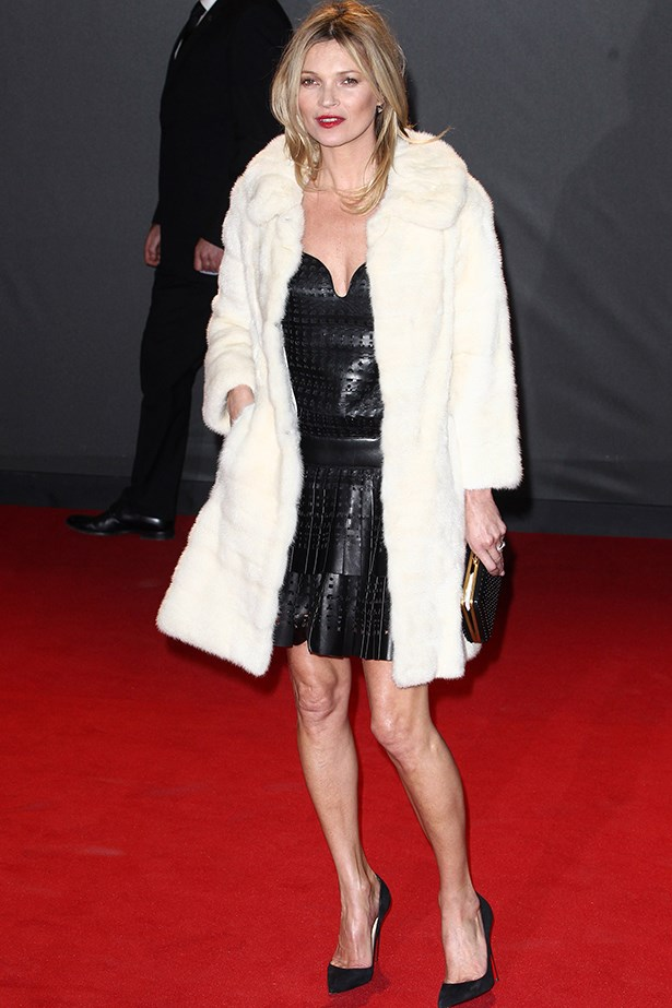 Kate Moss wore a Marc Jacobs dress and fur coat to collect her Special Recognition Award.