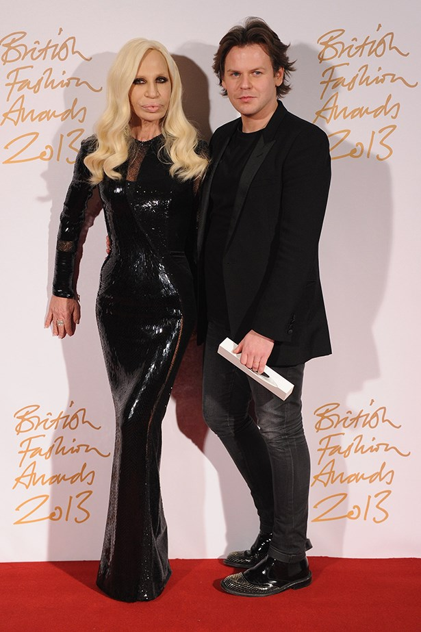 Donatella wore a figure-hugging Versace dress, naturally, while Christopher Kane looked dapper in a suit and embellished brogues.