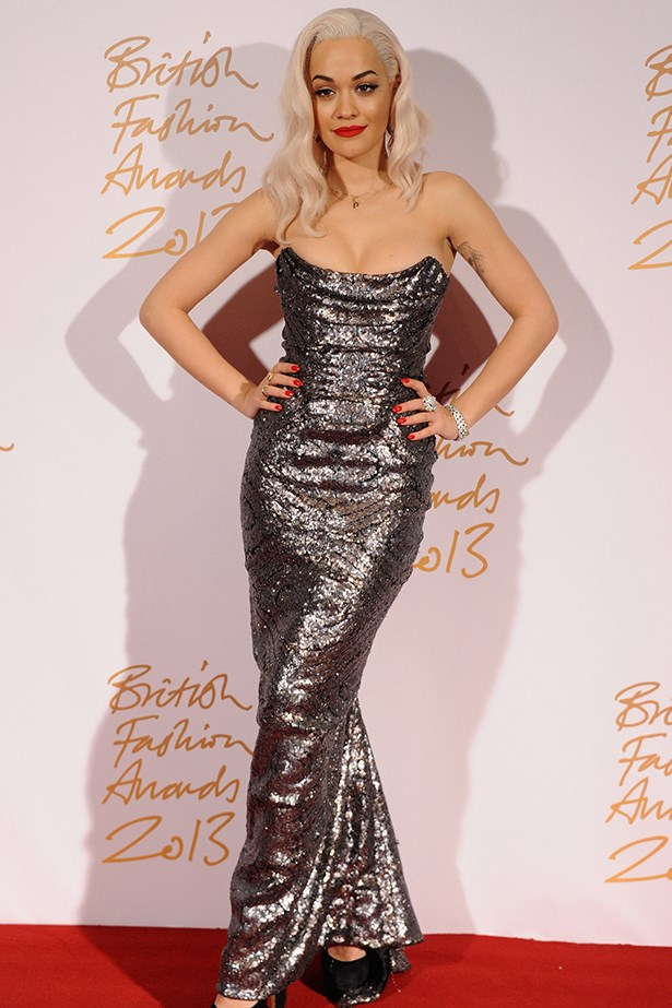 Rita Ora arrived in a sequinned Vivienne Westwood gown.