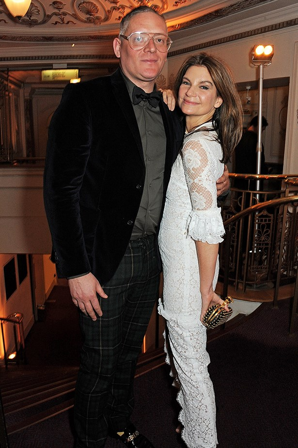The Net-A-Porter founder and British Fashion Council chairman Natalie Massenet looked chic in an Alessandra Rich dress while getting snapped with designer Giles Deacon.