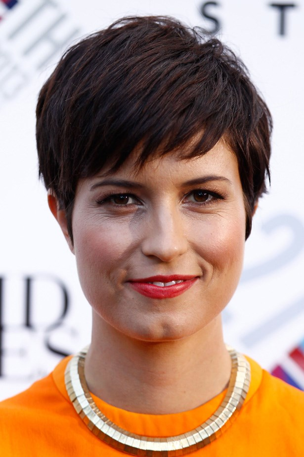 Missy Higgins pairs her trademark textured crop with rosy cheeks and a bright red lip.
