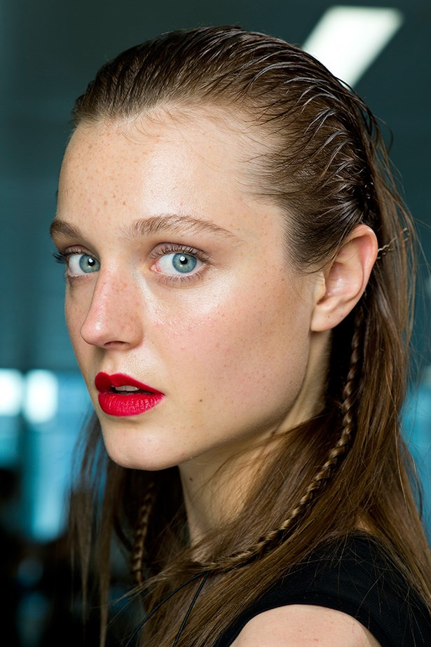 The matte red lip seen at Antonio Berardi SS14 was perfection. Outline with a darker red pencil to create depth, add a touch of kohl eyeliner and lashings of mascara - perfect for glamorous festivities.