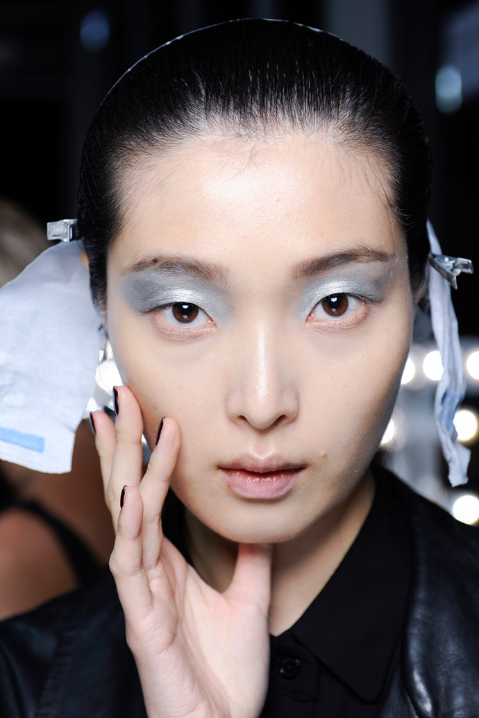 Brow-reaching silver metallic eye shadow at John Rocha's SS14 show is the ultimate festive companion.