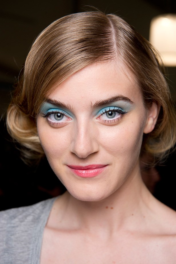 Badgley Mischka's SS14 playful blue eye shadow is sweetly retro and perfectly festive.