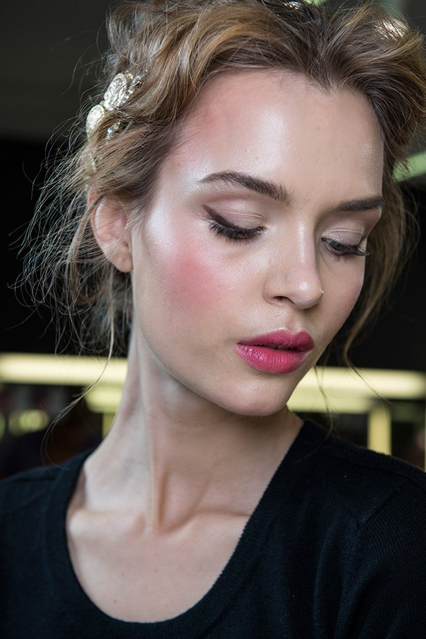 Try berry lipstick paired with blush for a rosy glow. At least you'll look like you belong on the nice list with the pretties from Dolce & Gabbana's SS14 show.
