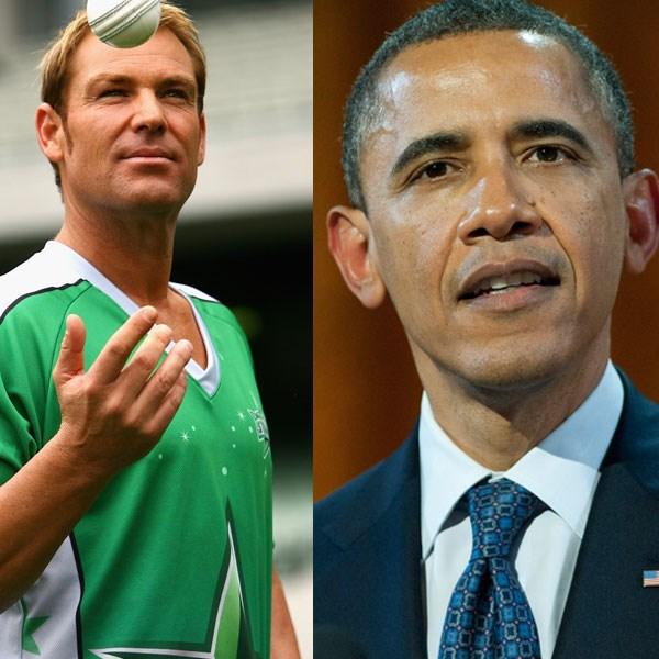 <strong>Number ten</strong><br> Australia: Shane Warne<br> Rest of the world: Barack Obama