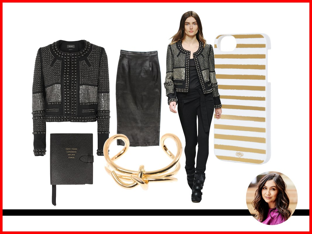 <strong>Justine Cullen, Editor-in-Chief</strong><br> Jacket, approx. $2,915, Isabel Marant, net-a-porter.com <BR> iPhone 5 case, $49.95, Rifle Paper Co., riflepaperco.com <BR> Cuff, approx. $362, Balenciaga, matchesfashion.com <BR> Skirt, $465, Unif.m, uniform-studios.com <BR> Notebook, approx. $115, Smythson, smythson.com <BR>