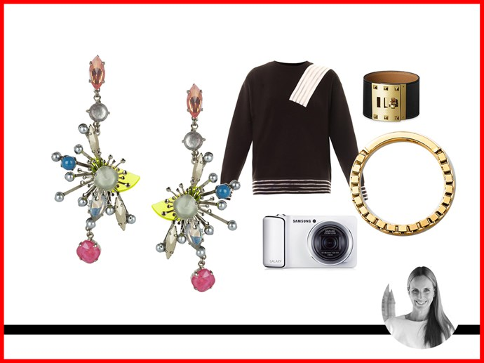 <strong>Nicole Bonython-Hines, Fashion Director</strong><br> Sweater, $395, Christopher Kane, matchesfashion.com.au<br> Cuff, $1195, Hermes, Australia.hermes.com<br> Camera, $599, Samsung, Samsung.com/au<br> Earrings, $399, Ericson Beamon, net-a-porter.com<br> Ring, $79, Pink Lou Lou, pinkloulou.com<br>