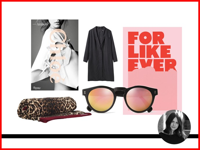 <strong>Elle McClure, Editorial Coordinator/PA to Justine Cullen </strong><br> Book, approx. $53, Rizzoli, amazon.com <br> Towel, $120, Zimmermann, zimmermannwear.com<br> Sunglasses, approx. $228, Illesteva, mrporter.com<br> Coat, approx. $494, Rachel Comey, lagarconne.com<br> Print, approx. $65, Super Rural, super-rural.com<br>