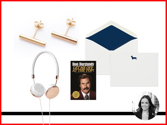 <strong>Vanessa Lawrence, Features Writer<br></strong> French Navy 'Woof Woof' Stationary Set, $45.00 for 10 Notecards and 10 Lined Envelopes, frenchnavy.com.au. <br> Sarah and Sebastian Line Earrings in Yellow Gold, $120, sarahandsebastian.com. <br> Givenchy Medium Pouch in Coated Canvas, $470, netaporter.com.<br> Frends 'Layla' On-Ear Headphones in White Leather and Rose Gold, $179, available from Myer stores. <br> 'Let Me Off At The Top! My Classy Life and Other Musings' By Ron Burgandy, published by Random House, $32.95, bookworld.com.au. <br>