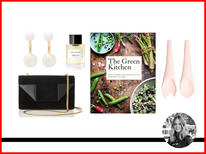 "<p><strong>Dee Jenner, Market Editor </strong></p> <p>Frederic Malle x Dries Van Noten, $209 for 50ml, Dries Van Noten, <a href=""http://www.meccacostmetica.com.au"">meccacostmetica.com.au </a></p> <p>Bag, approx. $1544, Saint Laurent, <a href=""http://www.net-a-porter.com"">net-a-porter.com</a></p> <p>Salad servers, $100, Dinosaur Designs, <a href=""http://www.dinosaurdesigns.com.au"">dinosaurdesigns.com.au</a></p> <p>The Green Kitchen by David Frenkiel and Luise Vindahl Andersen, $39.95,<a href=""http://www.booktopia.com.au""> booktopia.com.au</a></p> <p>Earrings, approx $291, Satomi Kawakita, <a href=""http://www.lagarconne.com"">lagarconne.com</a></p>"