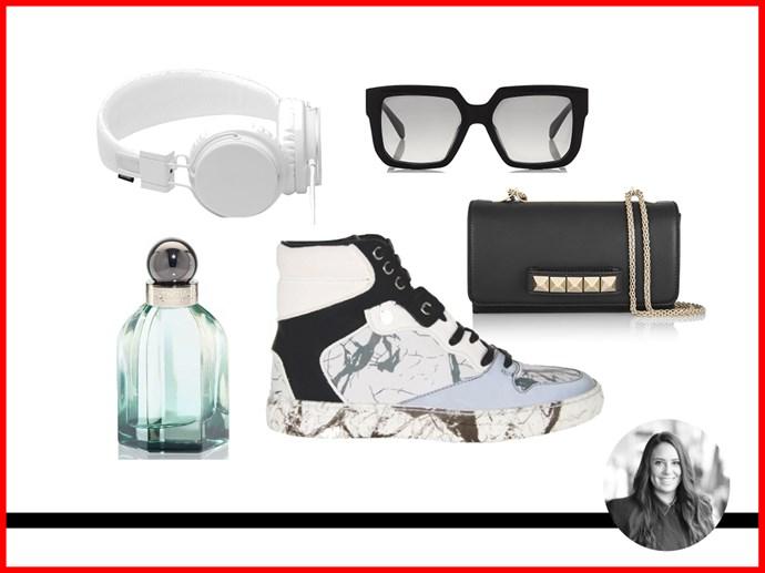 <strong>Dannielle Cartisano, Fashion Assistant <br></strong> Bag, $2,167.90, Valentino, net-a-porter.com<br> Sunglasses, approx. $375, Celine, harrods.com<br> Sneakers, $695, Balenciaga, cultstatus.com.au<br> Headphones, $69, Urbanears, yoox.com<br> L'Essence EDP, from $95 for 30mL, Balenciaga, 1800 812 663<br>