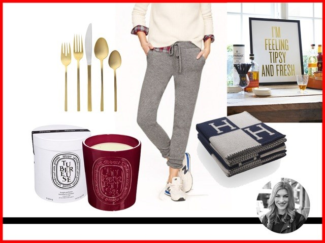<strong>Janna Johnson O'Toole, Beauty and Fitness Director<br></strong> Avalon cashmere and wool blanket, $1,615.00, Hermes, hermes.com.au<br> Collection Cashmere Sweatpant, $419, J. Crew, jcrew.com<br> Gold Flatware 5-pc. Place Setting, $39, West Elm, westelm.com.au<br> Tuberose Large Candle Indoor & Outdoor Edition, $300, Diptyque, meccacosmetica.com<br> Gold Foil Print, $35, Read Between The Lines, readbetweenthelines.com.au<br>