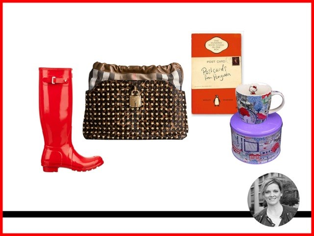 "<p><strong>Jane Davies, Managing Editor </strong></p> <p>Wellingtons, Hunter, $154, <a href=""http://www.theiconic.com.au"">theiconic.com.au</a></p> <p>Hello Kitty Mug in tin, $20.00, <a href=""http://www.petersofkensington.com.au "">petersofkensington.com.au </a></p> <p>Postcards From Penguin: 100 Book Jackets in One, $29.99,  <a href=""http://www.dymocks.com.au "">dymocks.com.au</a></p> <p>Bag, $2,095, Burberry, <a href=""http://au.burberry.com/"">burberry.com</a></p>"