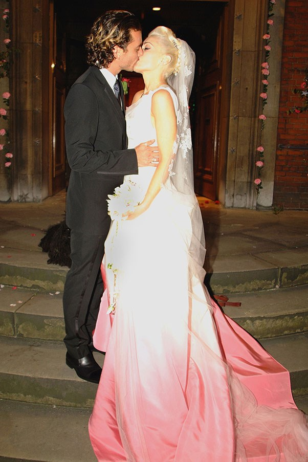 """Gwen Stefani's John Galliano wedding gown from her 2002 marriage to Gavin Rossdale <br><br> Related link: <a href=""""http://www.elle.com.au/runway/runway-report/2013/10/elles-edit-2014-bridal-gowns/ """">Wedding Inspiration: 2014 Bridal Gowns</a>"""