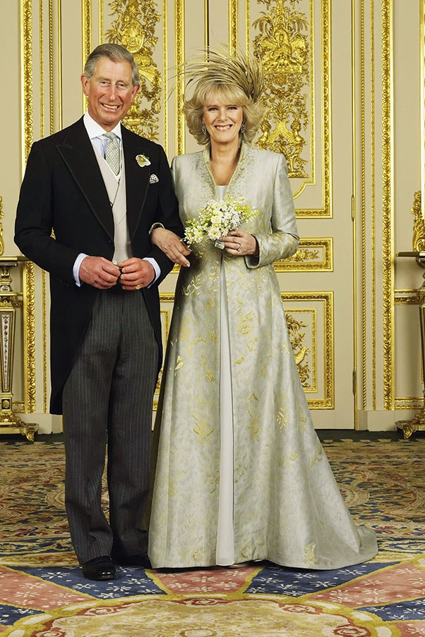 """Camilla, Duchess of Cornwall's Robinson-Valentine gown from her 2005 marriage to Prince Charles <br><br> Related link: <a href=""""http://www.elle.com.au/runway/runway-report/2013/10/elles-edit-2014-bridal-gowns/ """">Wedding Inspiration: 2014 Bridal Gowns</a>"""