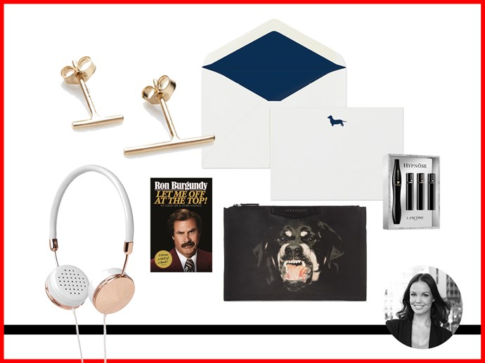 "<p><strong>Vanessa Lawrence, Features Writer </strong></p> <p>French Navy 'Woof Woof' Stationary Set, $45.00, <a href=""http://www.frenchnavy.com.au"">frenchnavy.com.au</a></p> <p>Sarah and Sebastian Line Earrings in Yellow Gold, $120, <a href=""http://www.sarahandsebastian.com"">sarahandsebastian.com</a></p> <p>Frends 'Layla' On-Ear Headphones in White Leather and Rose Gold, $179, available from Myer stores</p> <p>'Let Me Off At The Top! My Classy Life and Other Musings' By Ron Burgandy, $32.95, <a href=""http://www.bookworld.com.au"">bookworld.com.au</a></p> <p>Givenchy Medium Pouch in Coated Canvas, $470, <a href=""http://www.netaporter.com"">netaporter.com</a></p> <p>Hypnôse Drama Mascara, Hypnôse Doll Eyes, Hypnôse Drama, Hypnôse Star, $52, Lancôme, available at Myer</p>"