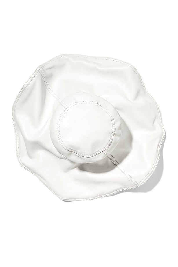 "Leather hat, $495, Willow, <a href=""http://www.willowltd.com"">willowltd.com</a>"