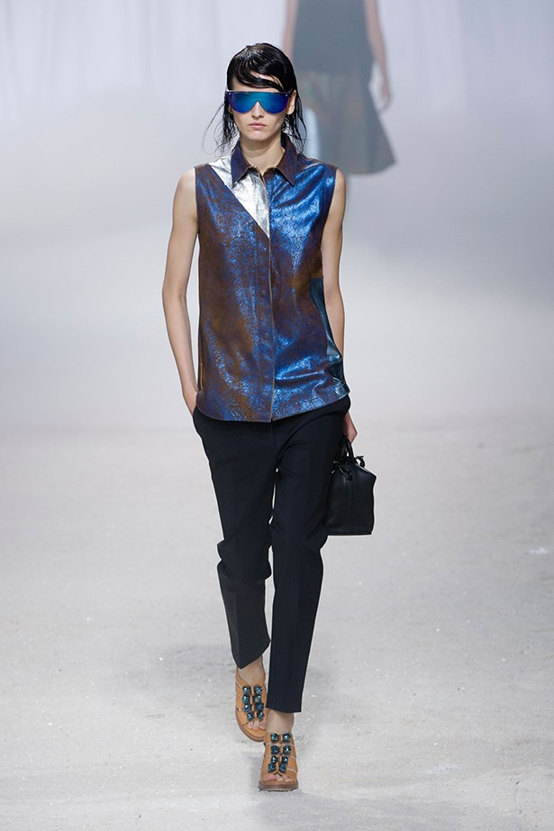 <p><strong>10. High shine fabrics</strong></p> <p>Put aside your sequins and make way for high-shine fabrics, courtesy of the '80s. Marc Jacobs, 3.1 Phillip Lim and Jonathan Saunders all set the shiny agenda, and we faithfully complied. The key is to stick with one statement item – a metallic jacket, molten gown or patent leggings – and then keep the rest of your outfit simple. Contrasting fabrics like wool or denim also look fab.</p> <p>3.1 Phillip Lim SS14</p>