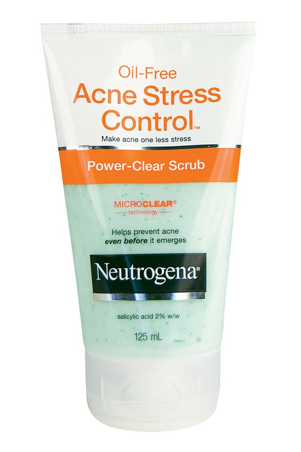 """Acne Stress Control Scrub, $14.99, Neutrogena, <a href=""""http://neutrogena.com.au """">neutrogena.com.au </a> With a creamy formula made up of green tea and cucumber extracts, this gentle scrub penetrates the pores to stop breakouts from appearing."""