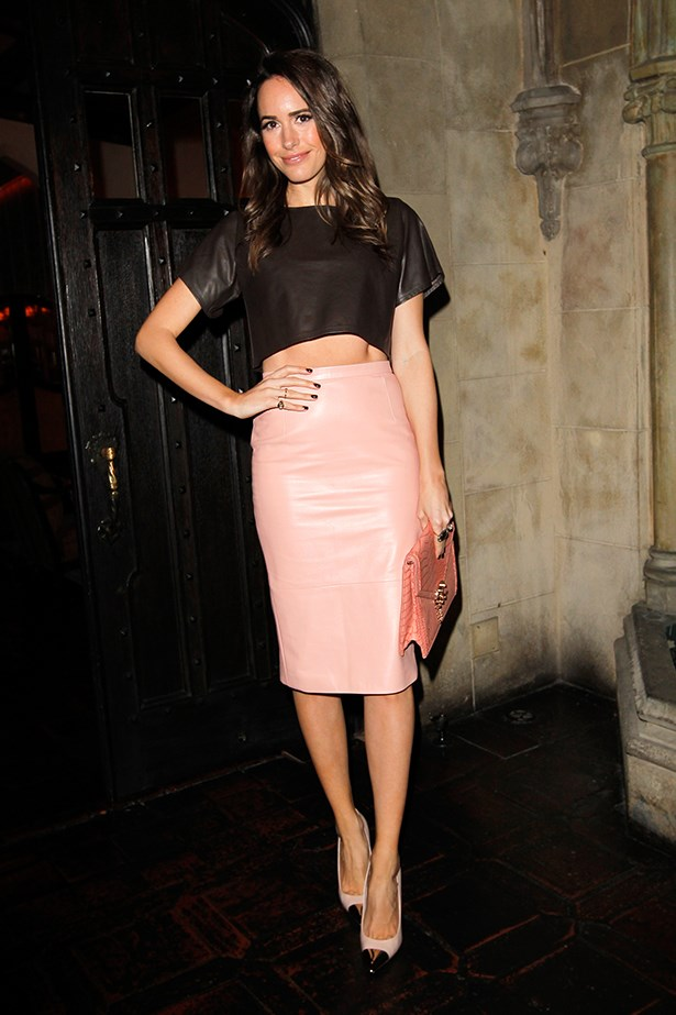 Louise Roe in a patient pink high-waisted skirt