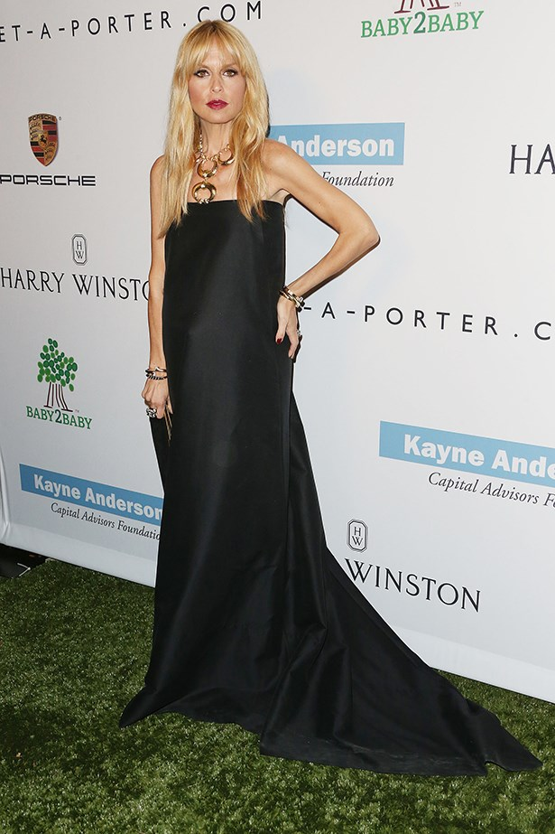 Rachel Zoe in a floor length black dress