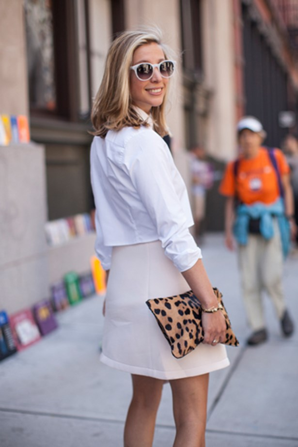 White button up shirt worn at New York fashion week