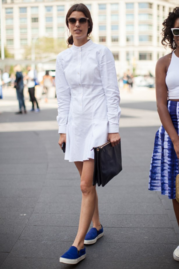 White shirt-dress worn to New York fashion week