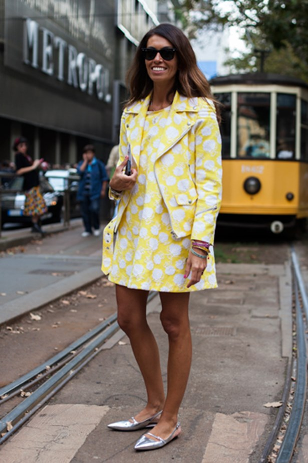 Yellow polka dots at Milan fashion week