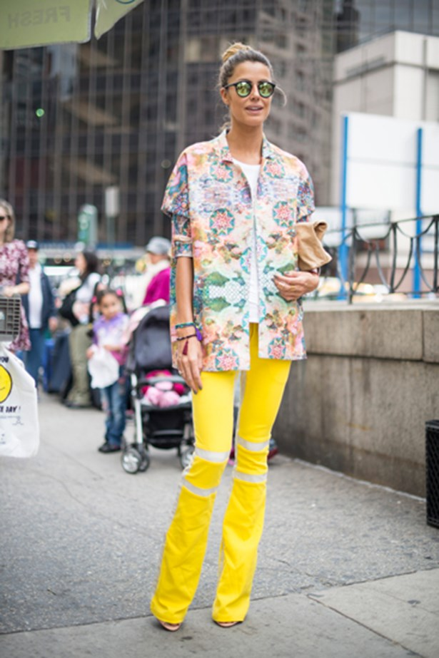 Canary yellow trousers at New York fashion week