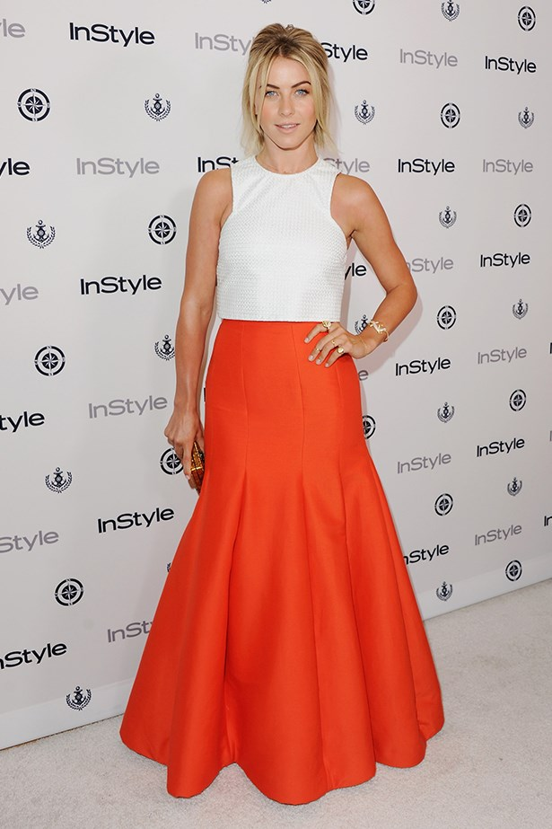 <p><strong>Orange</strong></p> Julianne Hough in Bec & Bridge and Halston Heritage