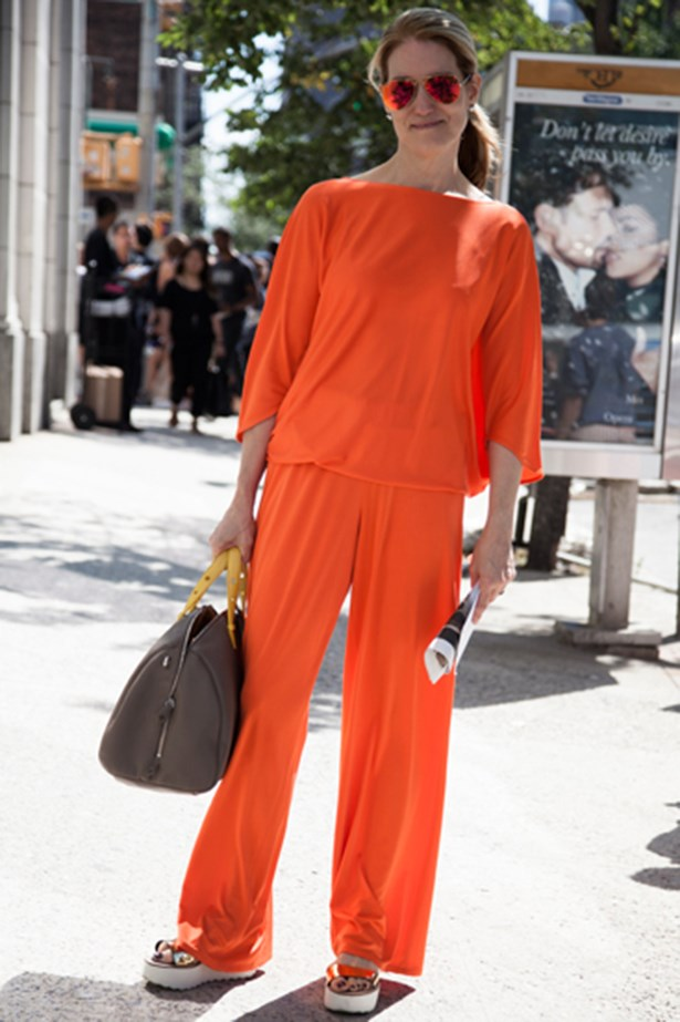 Head-to-toe orange at New York fashion week