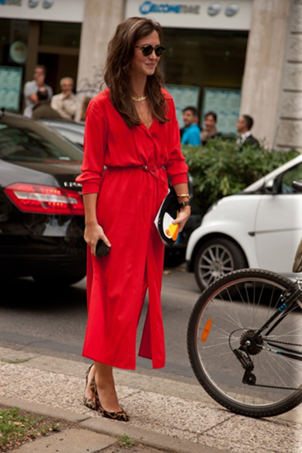 A red dress at Milan fashion week