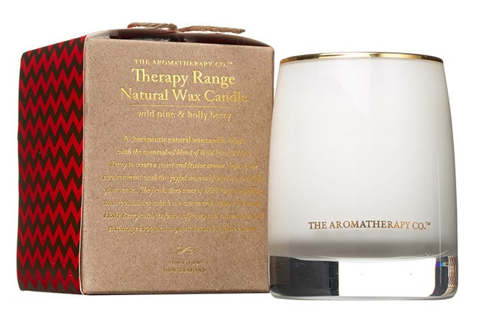 Turn your home into a snow covered pine forest with Wild Pine & Holly Berry Natural wax Candle from Aromatherapy Co ($29.95, 1800 104 029).