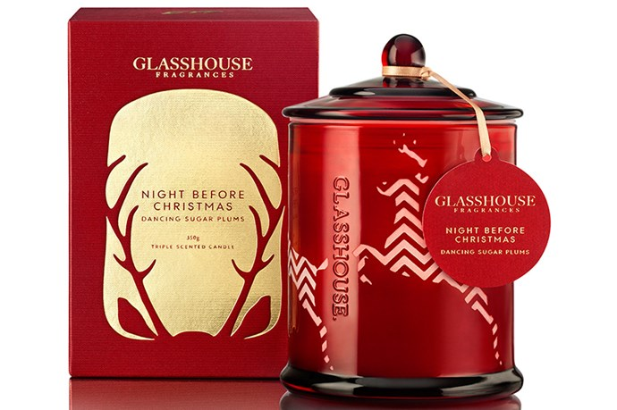 """A candle for more sophisticated celebrations, Glasshouse's Night Before Christmas Candle ($42.95, <a href=""""http://glasshousefragrances.com.au"""">glasshousefragrances.com.au</a>) has is scented with blackcurrant, plum, lemon and lavender."""